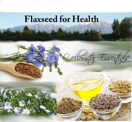 flaxseed oil flowers for health text