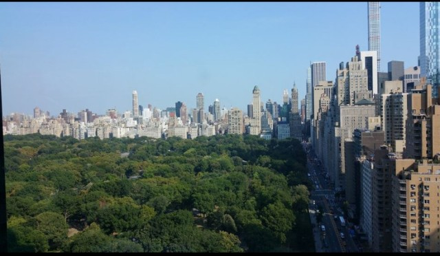 central park from mandarin hotel by columbus circle NYC 2015 sept